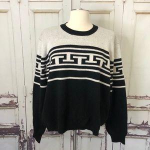 NWOT PHILOSOPHY black white wool sweater large